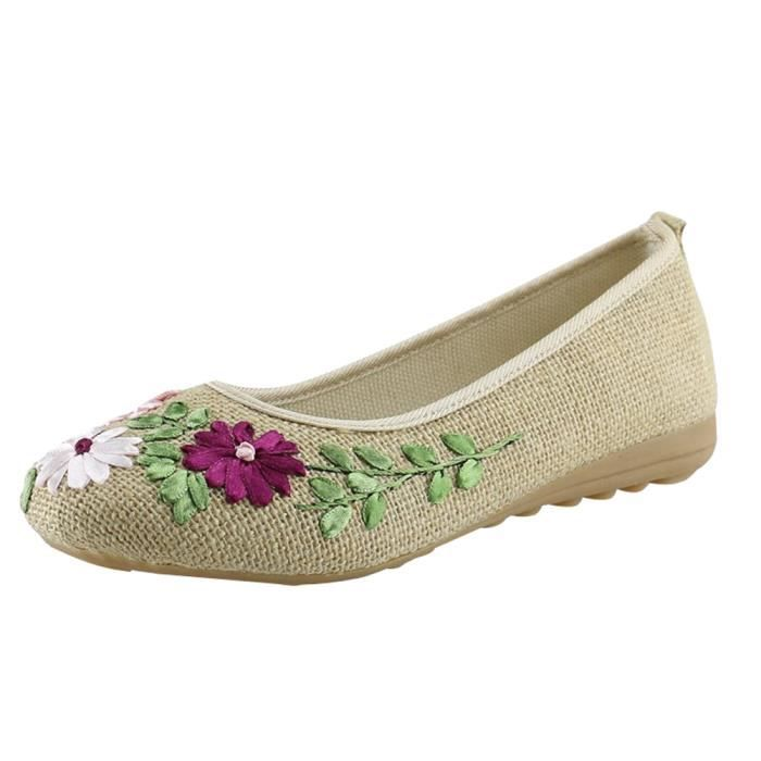 Minetom Femme Casual Elegant Chaussures Brodées Ballerine Style  Traditionnel Chinois Chaussures Florales Bout Rond Talon Plat 7c41cc5986af