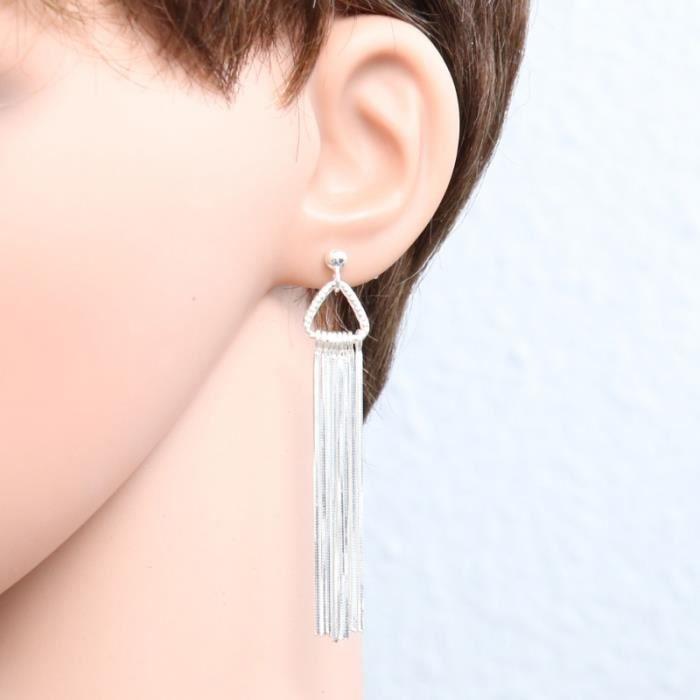 Boucles d oreilles Argent 925 ref 45318 Blanc