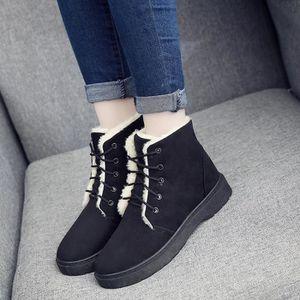 Sidneyki®Femmes Dames Hiver Chaud Plus Lined Plat Lace Up Snow Cheville Bottes Chaussures BKNoir WE360 E90mdX