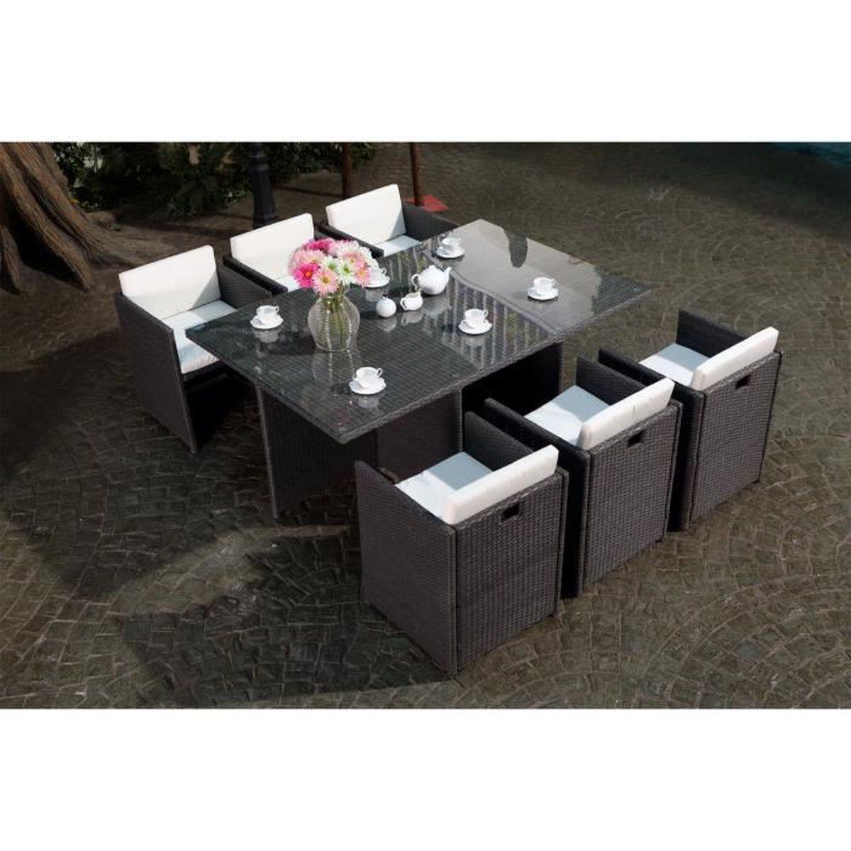 bfb655d66cc26 Table de salon de jardin gris en resine 6 personnes - Achat   Vente ...