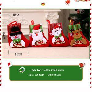 Calendrier de l'avent Bas de Noël Chaussette Père Noël Sac Cadeau Bonbon