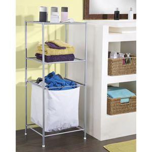 Étagère salle de bain avec panier à linge - Achat / Vente meuble ...