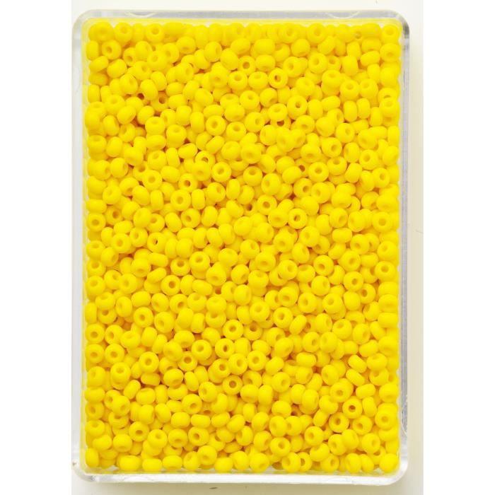 PANDURO Perles de Rocailles  - 3,8 à 4,5 mm de diamètre -Trou 1 mm - Jaune opaque