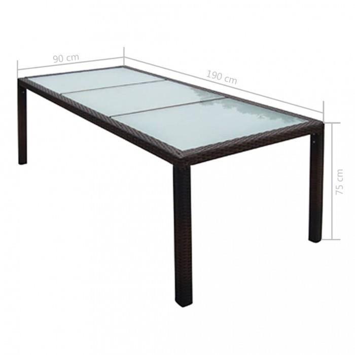 Tables d\'exterieur vidaXL Table de jardin Resine tressee 190 x 90 x 75 cm  Marron