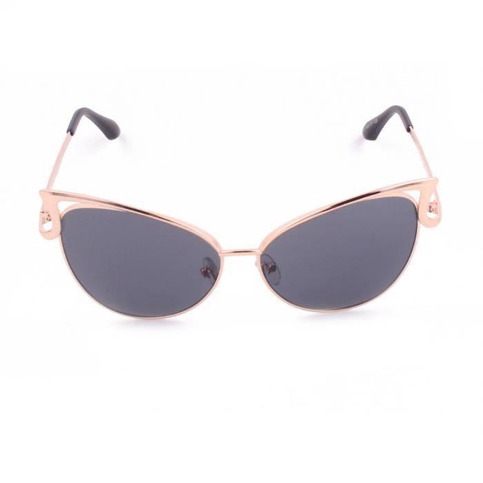 YKS fashion oeil lunettes de soleil de chat en métal cadre dor en feuille grise pleine