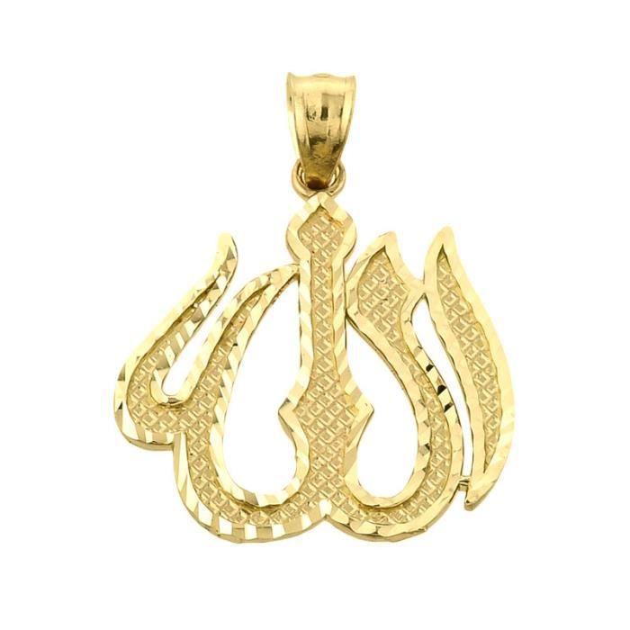 Pendentif 10 ct Or Jaune 471/1000 Diamant Coupe Allah