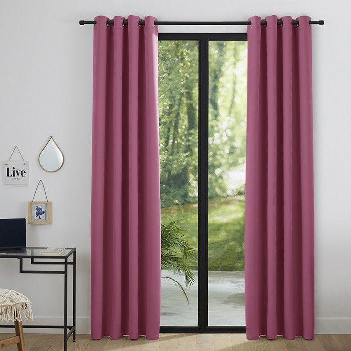 rideaux velours rose achat vente pas cher. Black Bedroom Furniture Sets. Home Design Ideas