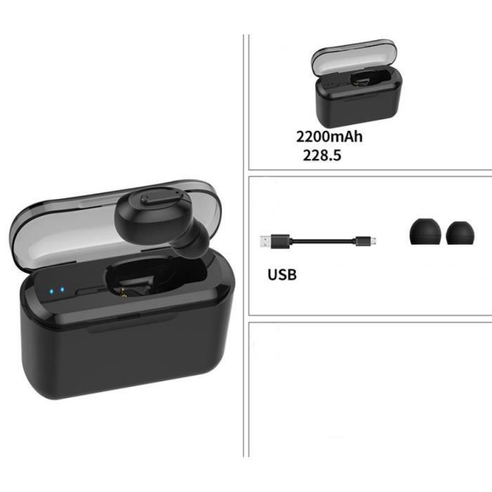 Casques D'écoute Portables Invisibles In-ear Avec Écouteurs Stéréo Sans Fil Bluetooth Bac De Chargement 2200 Mah Noirs
