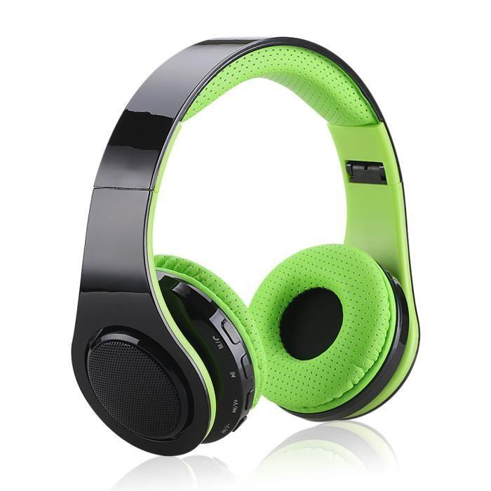 Excelvan Casque Led Bluetooth Stéréo Sans Fil Réglables Avec Micro -fm Radio Lumières Colorées Vert