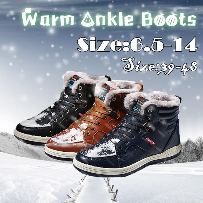 doublure chaudes Derbies pour extérieur cheville cuir Bottes Sneaker Sport fourrure neige Sport en d'homme d'hiver Entièrement qt4aTx