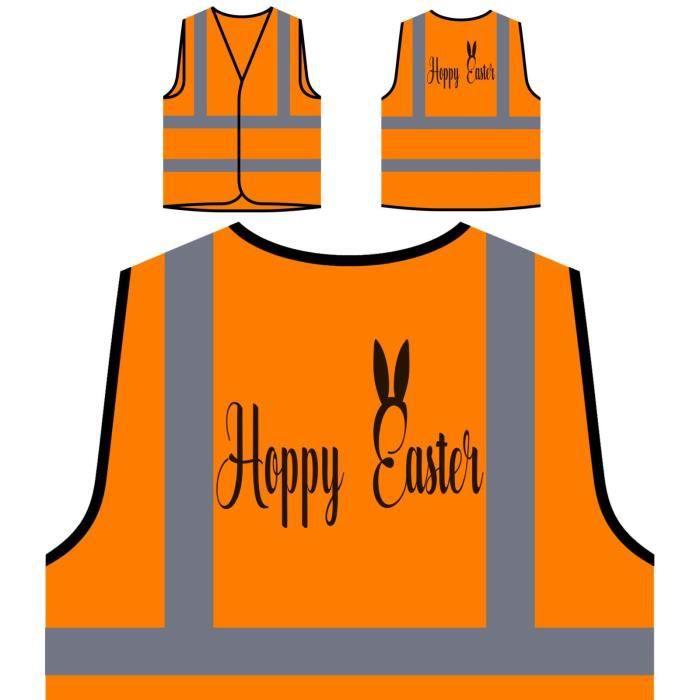 hoppy Protection Veste À Easter Visibilité Haute De Orange Ears Personnalisée Haut Bunny AxxqB450