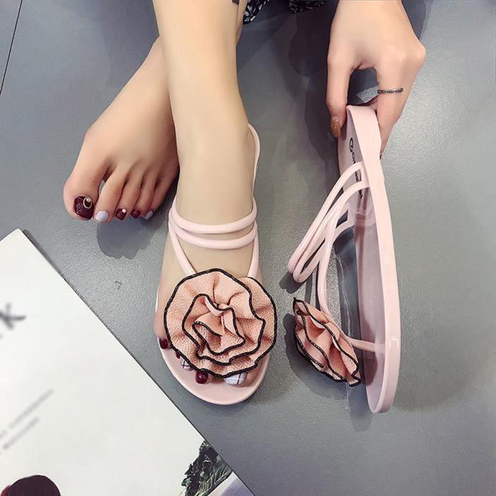 Chaussures De D'été Rose Intérieur Plage Tongs c Fleurs Sandales Femmes Extérieur Chausson 1233 8W0vxWqfnS