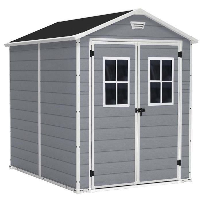abri de jardin avec double porte gris avec fen tres 186 x. Black Bedroom Furniture Sets. Home Design Ideas