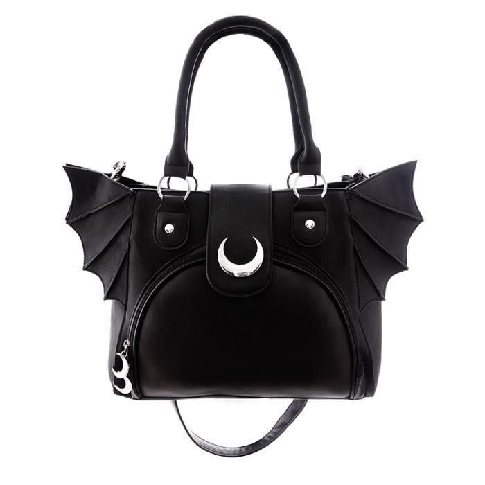 Sac noir imitation cuir avec ailes de chauve-souris et petites lunes argenté, restyle aille unique Noir