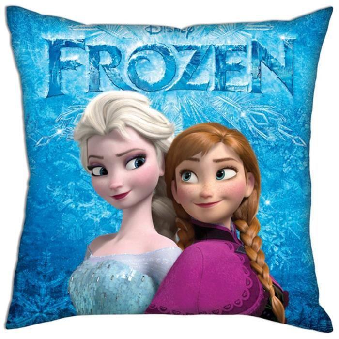 coussin reine des neiges LA REINE DES NEIGES Coussin déhoussable Anna et Elsa bleu 40 cm  coussin reine des neiges