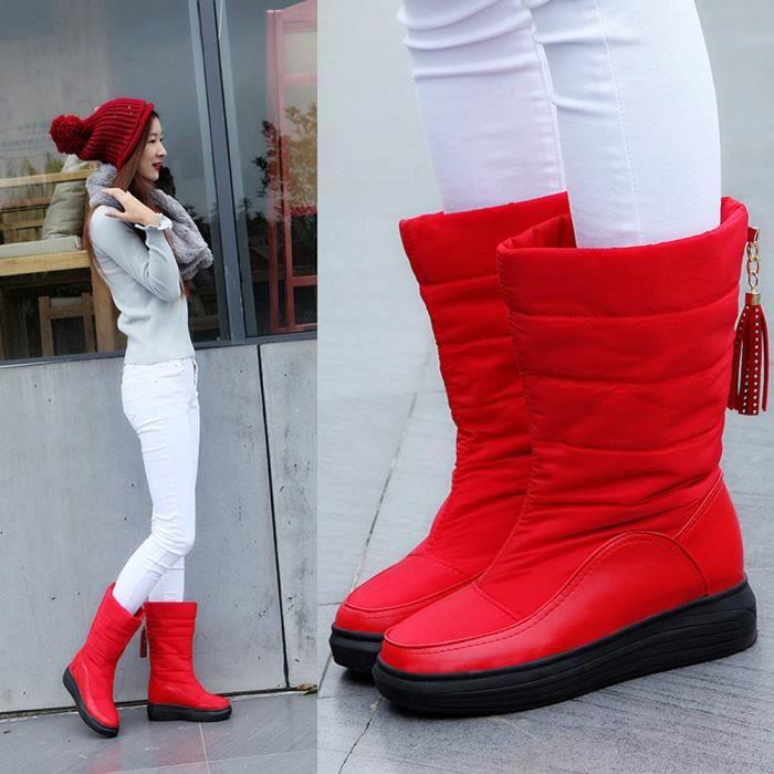 Hiver De Chaussures Neige Chaud Talons Femmes Genou Bottes Coton Rouge Plat rqxArCFw