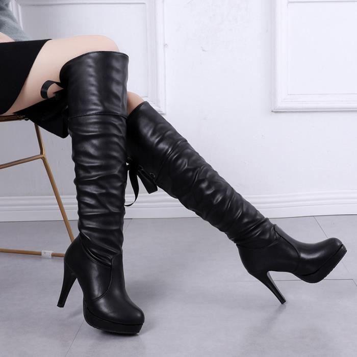 Chevalier Tube De En La Long À Bottes Oppapps4669 Talon Martin Bout Chaussures Cuir Femme Rond Lacées Fin wqUn65