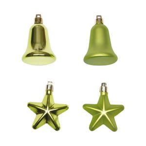 Lot de 5 Etoiles et 3 Cloches de Noël Vert clair