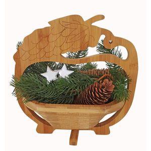 Décors de table Bol en bois, soucoupe, panier pliant en bois de ba