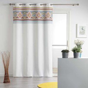 RIDEAU Rideau imprimé motifs ethniques Blanc 140 x 260 cm