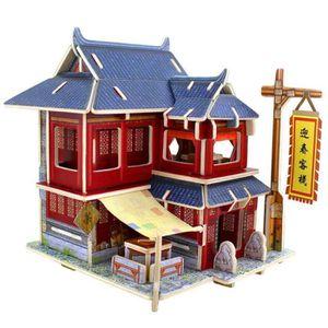 PUZZLE Puzzle en Bois 3D Jeux Créatif Hôtel Antique Chino