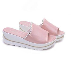 SANDALE - NU-PIEDS sandale femme pantoufles d'été sandales plates fem