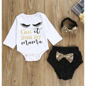 a97398f903942 Ensemble de vêtements 3pcs Tout-petit bébé Bébés filles Vêtements Letter ...