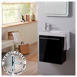 MEUBLE VASQUE - PLAN Ensemble meuble lave mains noir + lave mains en cé