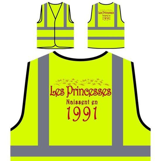 Princesses À les En Haute 1991 Jaune Personnalisée Naissent Visibilité Veste Protection De qnwxZI1U8g