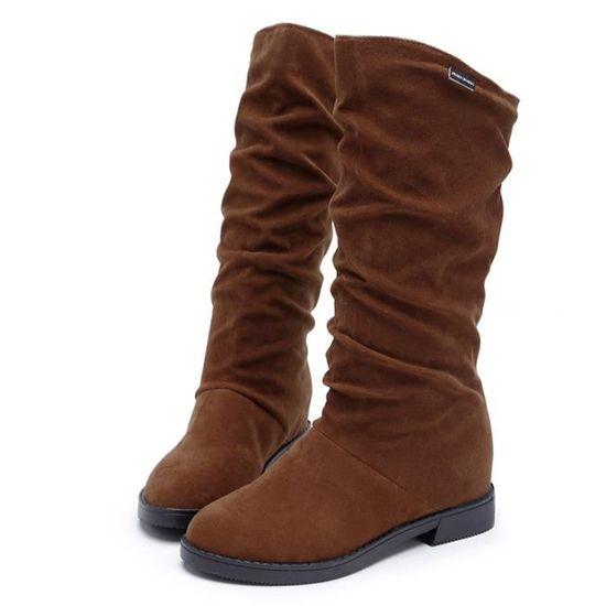 Exquisgift®bottesde Chaussures Neige Plates Troupeau Marron~xym61110901bw Élégantes Pour Hiver Automne De pwZXpr4x