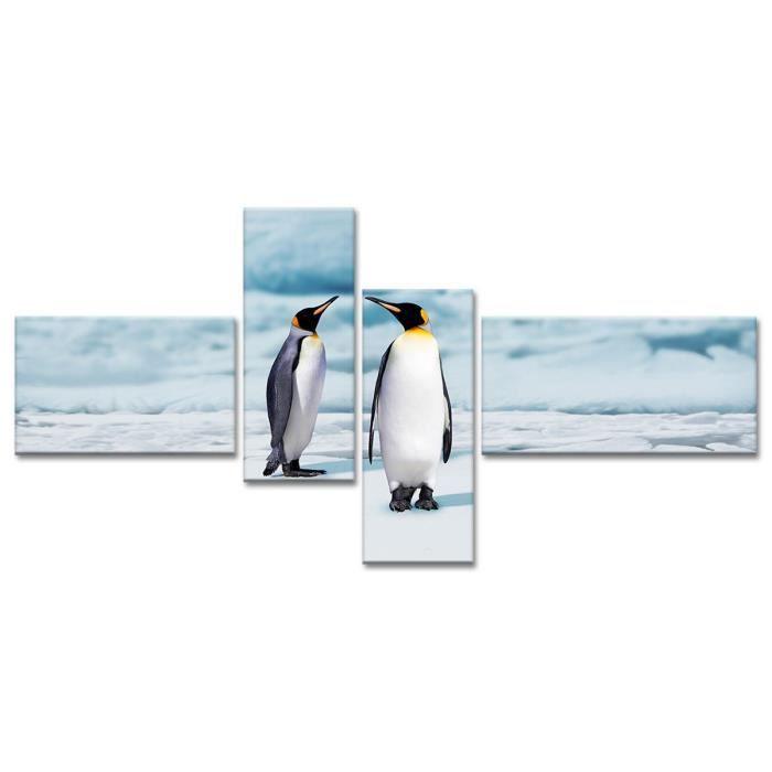 Thème : Animaux - Tableau Déco Pingouins sur la Banquise - 130x65 cm - Noir et BlancTABLEAU - TOILE