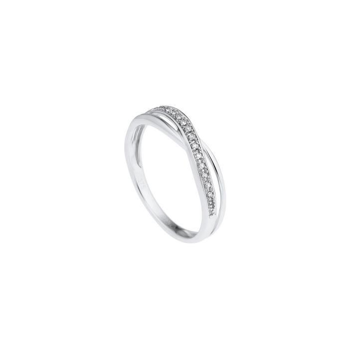 DIAMOND LANE Bague Demie-Alliance Or Blanc 375° et Diamants Femme