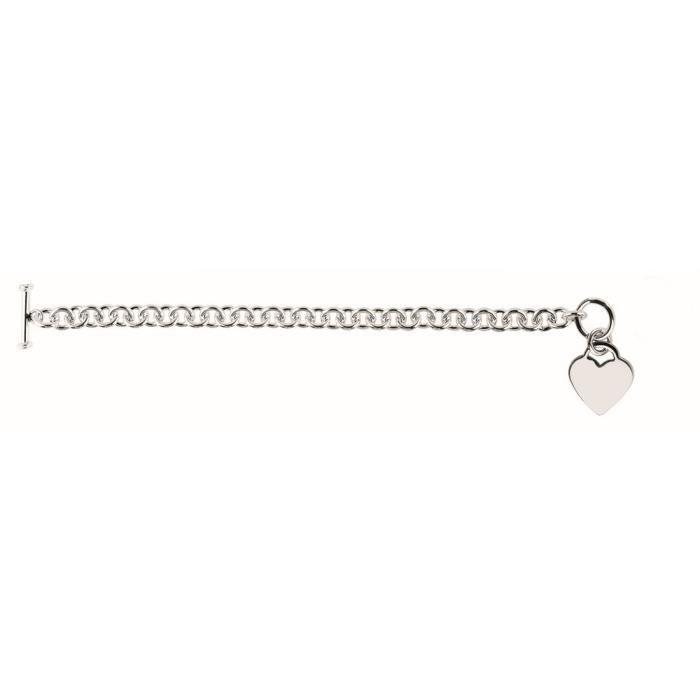 Rhodium argent Sterling plaqué Bracelet à bascule 8 cm