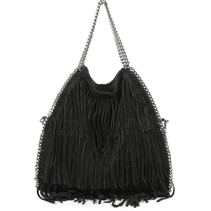 6fb98c7734 Chic&Choc - Sac cuir noir avec franges et chaînes - Achat / Vente ...