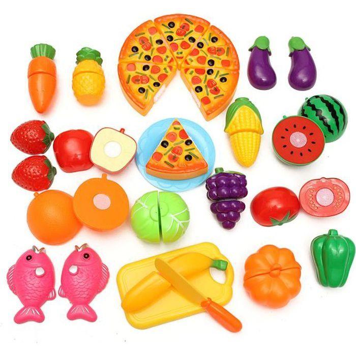 24pcs coupe jouet cuisine dinette fruit plastique enfant Cuisine plastique jouet