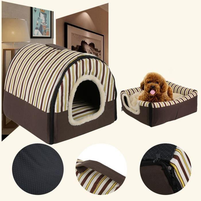 Baqi Pliant Abri Maison D'animal De Compagnie Style Kennel Mat Voyage Bed Pour Chiot Chat (gris)