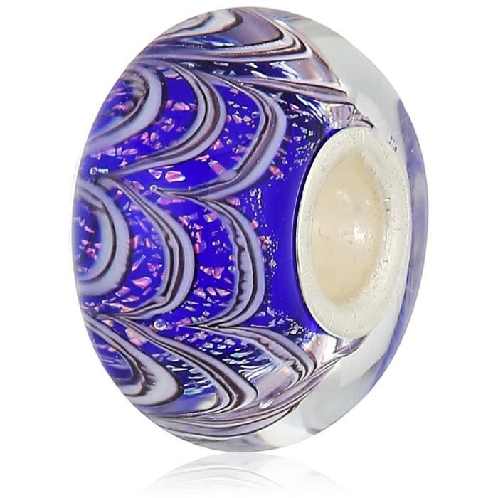 Chamilia Jack Frost- Sapphire Color With Murano Glass Italian Style Single Charm GZQJ1