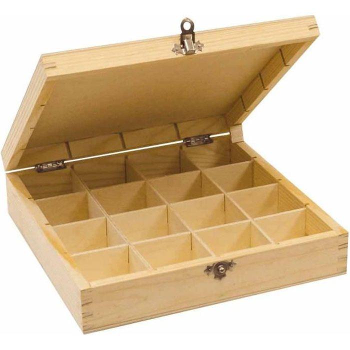 boite de rangement bois avec compartiment achat vente pas cher. Black Bedroom Furniture Sets. Home Design Ideas