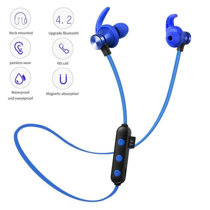 Efuture Casque Bluetooth De Sport Sans Fil Carte Mp3 Montée Sur La Nuque Magnétique Bleu
