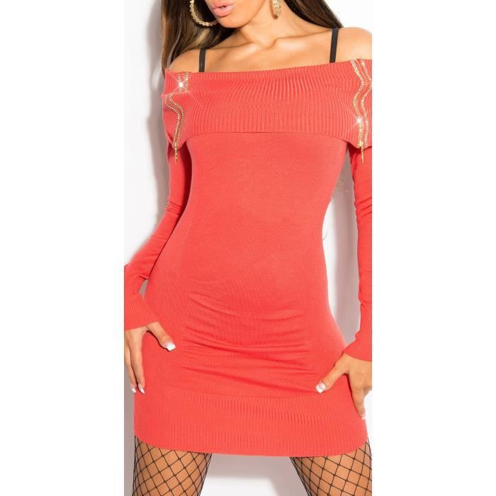 21cfd45cf11 ROBE   PULL LONG SEXY TUNIQUE STRASS CORAIL - Achat   Vente pull ...
