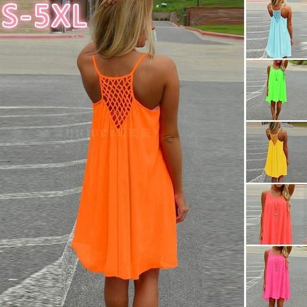 765cy3 MXNINA Sexy Womens Summer Casual Sleeveless Evening Party Backless Beachwear Mini-robe wmnC16122400387E21 M orange