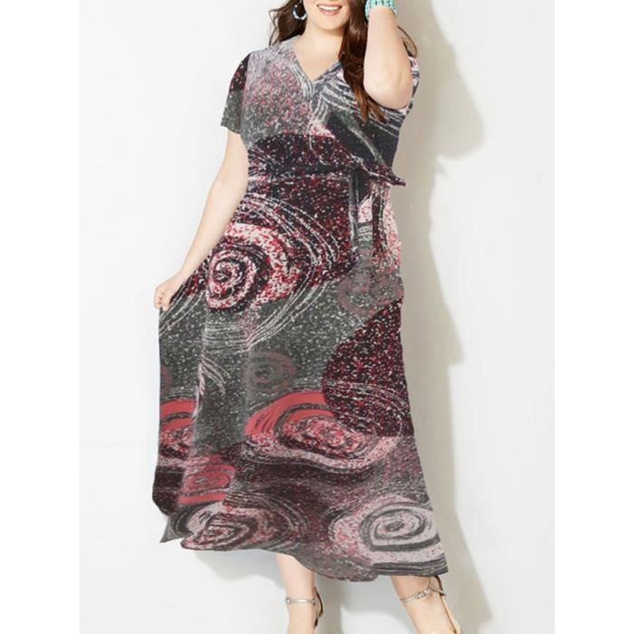 taille plus robe des femmes v cou à manches courtes avec ceinture maxi bohême robe longue