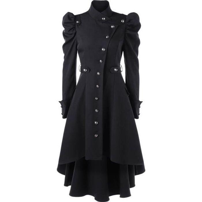 Noir Femmes Veste Gothique Rétro Dames Vintage Long Manteau Fcul15TJ3K