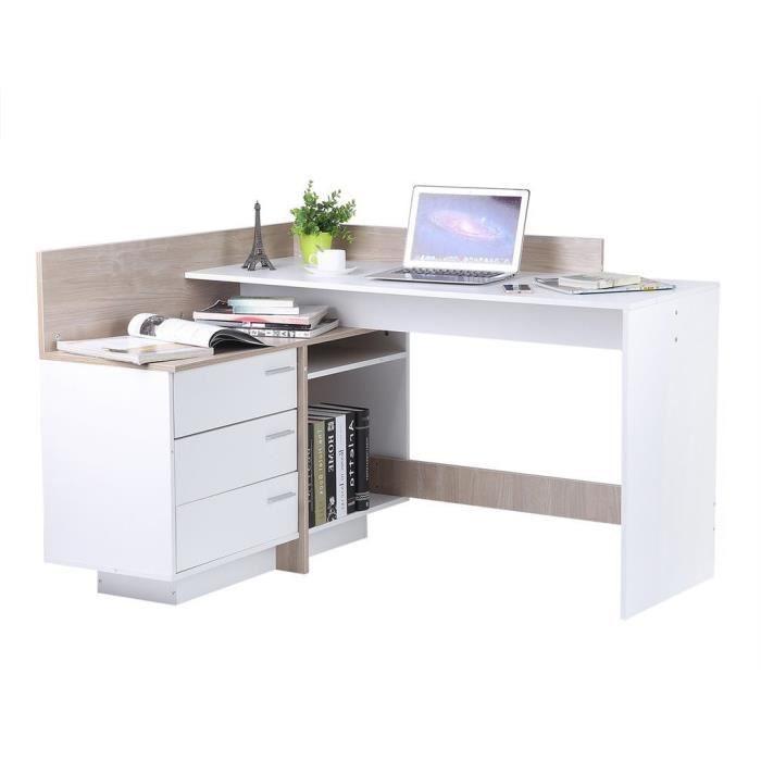 Meuble D Angle Ordinateur bureau d'angle informatique avec compartiments ouverts et tiroir 129