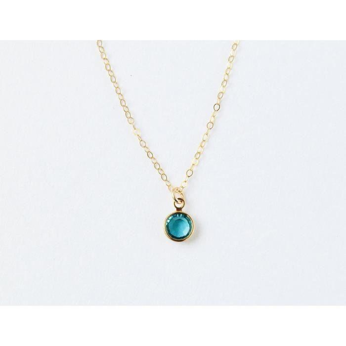 Womens 14k Gold Filled Blue December Birth Month Necklace - 18 Length MI39I