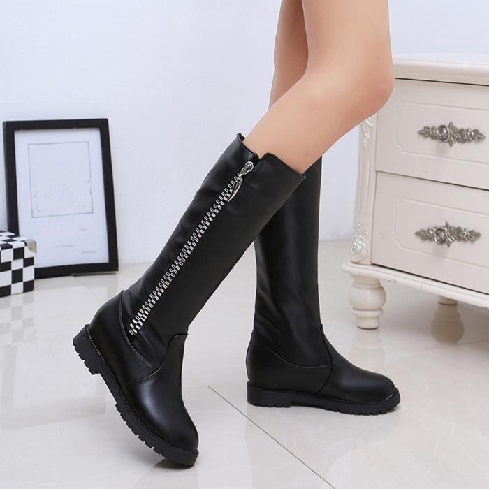 Sidneyki®Bottes d'hiver de la cuisse de femmes au-dessus de la botte de genou a augmenté les chaussures à talons plats Noir XKO137