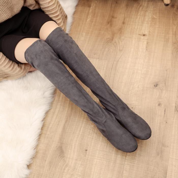 Femmes Hiver Automne Plat Bottes Chaussures Haute Jambe Daim Bottes LonguesGris WE315