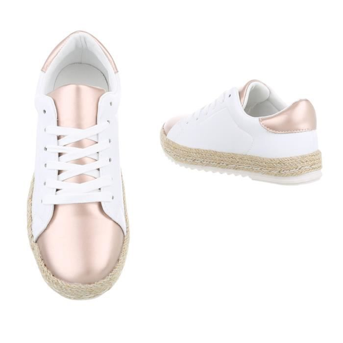 femmes chaussures Loisirs Chaussures Sneakers blanc or 36