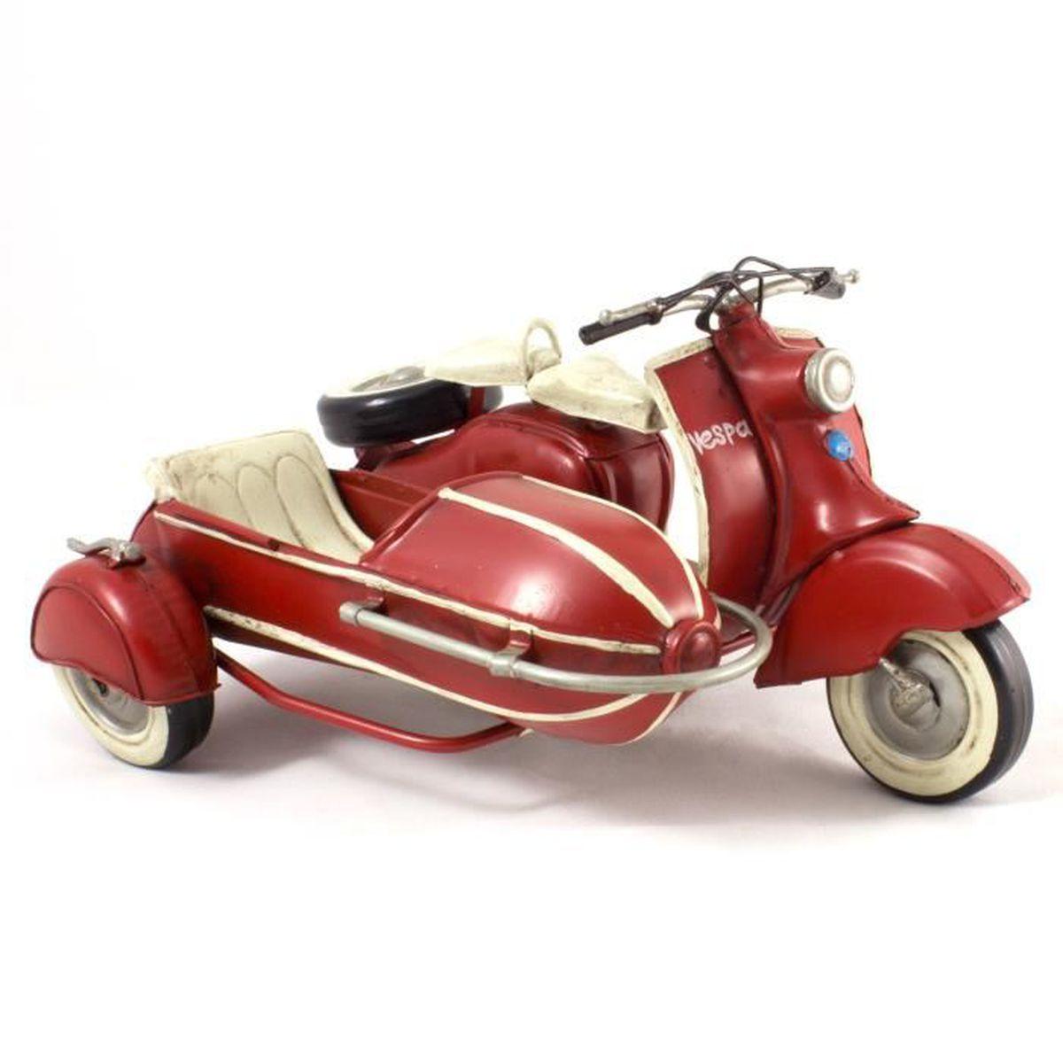 mod le r duit m tal vintage scooter avec side car dimensions 22 18 11 cm couleur rouge. Black Bedroom Furniture Sets. Home Design Ideas