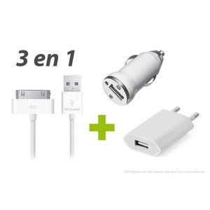 CHARGEUR TÉLÉPHONE CHARGEURS SECTEUR VOITURE CABLE USB iPHONE 4S 4